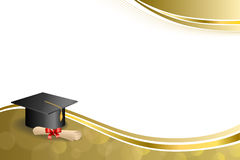 Background abstract beige education graduation cap diploma red bow gold frame illustration Royalty Free Stock Images