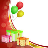 Background abstract birthday party gift box green red yellow balloons gold ribbon frame illustration Stock Photo