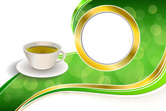 Background abstract drink green tea cup gold circle frame illustration Stock Images