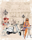 Background decorated with girls drinking coffee, the Italian sights Royalty Free Stock Images