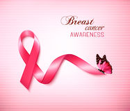 Background with Pink Breast Cancer Ribbon and butterfly. Royalty Free Stock Images