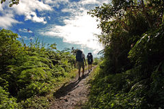 Backpackers hiking uphill mountain trail Royalty Free Stock Photos