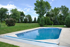 Backyard In-Ground Swimming Pool Royalty Free Stock Images