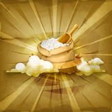 Bag of rice vector background Royalty Free Stock Image