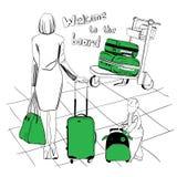 Bagages réglés pour l'aéroport Photo stock