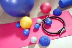 Balls pilates toning stability ring roller Royalty Free Stock Image