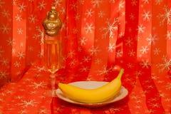 Banana, scimmia e champagne Fotografia Stock