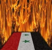 Bandeira de Síria no fogo Foto de Stock