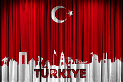 A bandeira turca, a festa e a celebração projetam a promoção Fotos de Stock Royalty Free