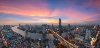 Bangkok Transportation at Dusk with Modern Business Building alo Stock Photography