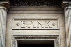 Bank sign on building Royalty Free Stock Photo