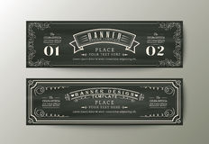 Banner design template with Vintage floral frame on chalk board Stock Photos
