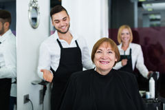 Barber makes the cut for  woman Stock Images
