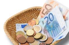 Basket with Euros Money Stock Photos