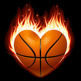 Basketball on fire in the shape of heart Royalty Free Stock Image