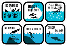 Beach safety signs Royalty Free Stock Photography