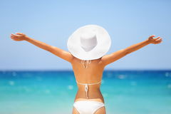 Beach summer holidays happy freedom woman Royalty Free Stock Photo