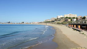 Beach of  Tarragona in spring day. stock footage
