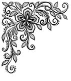 Beautiful black-and-white lace flower in the corne Stock Photos