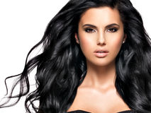Beautiful brunette woman with long black  hair Royalty Free Stock Photos
