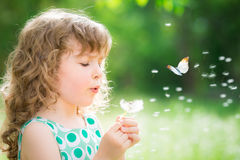 Beautiful child in spring Royalty Free Stock Image