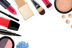 Beautiful decorative cosmetics and makeup brushes, isolated Stock Images