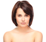 Beautiful Face of Young Woman with Clean Fresh Skin Royalty Free Stock Images