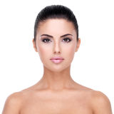 Beautiful face of young woman with clean skin. Royalty Free Stock Image