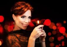 Beautiful female partying, celebrating holiday Stock Photography