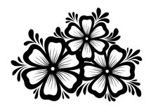 Beautiful floral element. Black-and-white flowers and leaves design element. Floral design element in retro style. Stock Photo