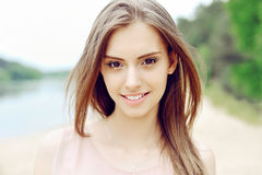 Beautiful girl face. Perfect clean skin Royalty Free Stock Photography