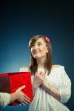 Beautiful girl and gift box Stock Photos