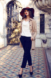 Beautiful ladylike woman in elegant fashion clothes posing in palace Royalty Free Stock Image