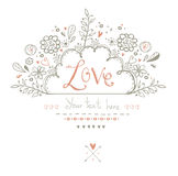 Beautiful  Love card in vintage style.Love background.Valentine day card postcard. Royalty Free Stock Image