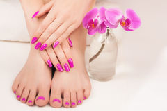 Beautiful manicure and pedicure Royalty Free Stock Photos
