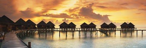 Beautiful panorama of tropical sunset Stock Images