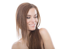 Beautiful red hair woman head and shoulders portrait. Royalty Free Stock Photo