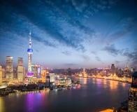 The beautiful scenery in shanghai in nightfall Stock Images