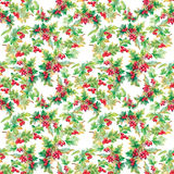 Beautiful seamless pattern in watercolor branches with rowan berries Stock Photos