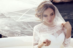 Beautiful sensual bride with dark hair in luxurious lace wedding dress Royalty Free Stock Image