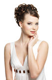 Beautiful  sensuality woman with beauty hairstyle Stock Photos