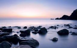 Beautiful serene sunrise in Al Aqqa beach Royalty Free Stock Photography