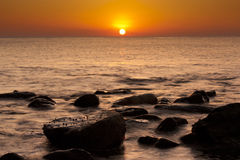 Beautiful serene sunrise in Al Aqqa beach Stock Photography