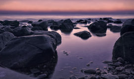 Beautiful serene sunrise in Al Aqqa beach Stock Photo