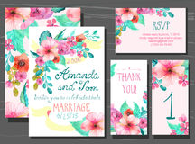 Beautiful set of invitation cards with watercolor flowers elemen Royalty Free Stock Photos