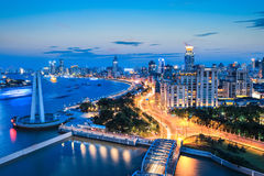Beautiful shanghai the bund in nightfall Stock Photography