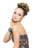 Beautiful teen girl with modern hairstyle Royalty Free Stock Photos