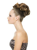 Beautiful teenager girl with creative  hairstyle Royalty Free Stock Image