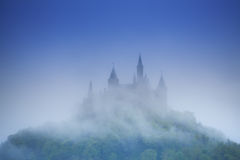 Beautiful view of Hohenzollern castle in haze Royalty Free Stock Photos