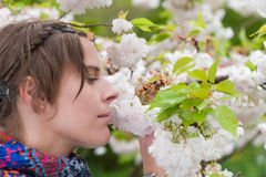 A Beautiful Woman enjoying the serenity of Spring Royalty Free Stock Photography